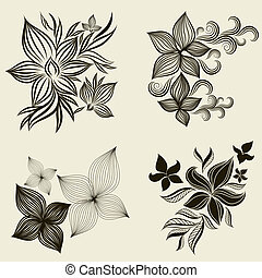 """Vector set of flower design elements (from my big """"Floral..."""