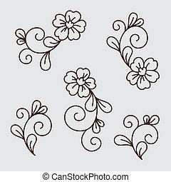 Vector set of flower elements