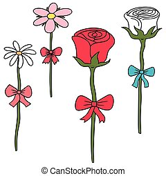 vector set of flower