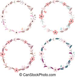 Vector set of flower wreaths with butterflies. Floral frames for
