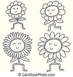 vector set of flowers