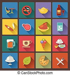 set of food and alcohol drink icons