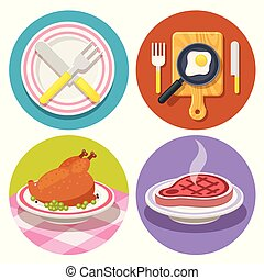 set of food and dish icons in flat