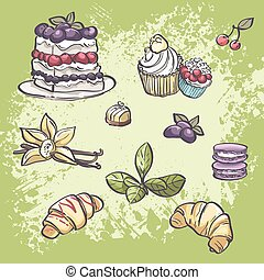 Vector set of food croissants, blackberry pie, muffins, fruit and tea leaves