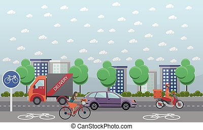Vector set of food delivery posters, banners in flat style