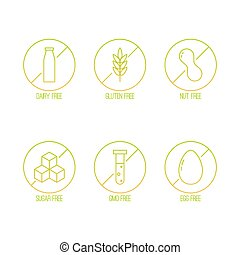 Vector set of food diet labels for non GMO foods, sugar and...