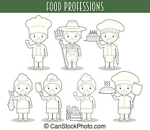 Vector Set of Food Industry Professions for coloring in cartoon style.