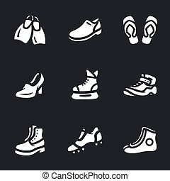 Vector Set of Footwear Icons. - Flippers, shoes, slippers,...