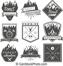 Vector set of forest camp labels in vintage style. Design elements, icons, logo, emblems and badges isolated on white background
