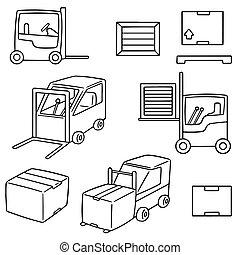 vector set of forklift truck
