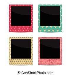 vector set of four colofrul vintage photo frames. EPS