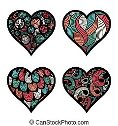 vector set of four hand-drawn doodle hearts