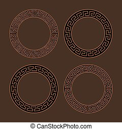 Vector set of four round meander frames.