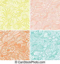 vector set of four seamless hand-drawn pattern, waves background. Seamless pattern can be used for wallpaper, pattern fills, web page background, surface textures. Gorgeous seamless floral background