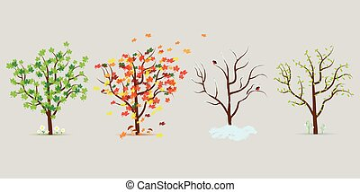 Vector set of four seasons trees. Flat design
