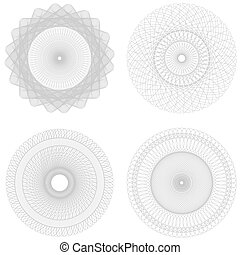Vector set of four spirographs for certificate background