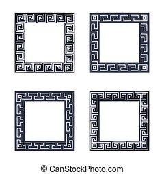 Vector set of four square meander frames. Greek hand drawn border for banner, card, invitation, postcard, label, poster, emblem and other design elements. Vector isolated illustration.