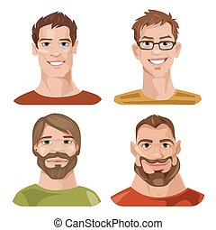 Vector set of four stylized male avatars