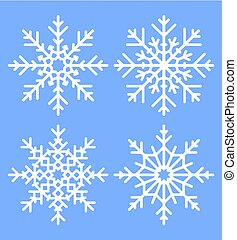 Vector set of four white winter snowflakes on a blue background