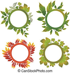 Vector set of frames - autumn leafs