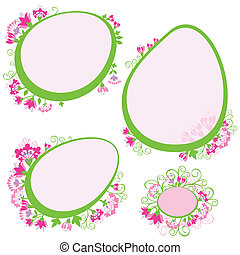 vector set of frames with flowers
