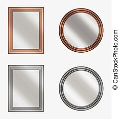 vector set of frames with mirrors on white background