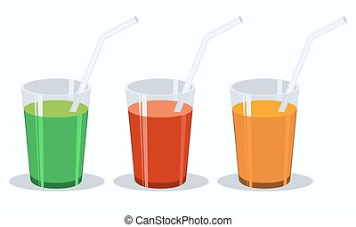 Vector set of fresh vegetable juices. Green, red, orange flat.