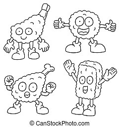 vector set of fried food cartoon
