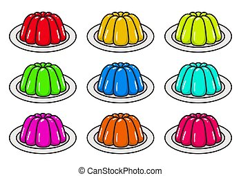 vector set of fruit jelly in plates. mould gelatin puddings isolated on white background. colorful dessert jello icons. clipart jelly collection of healthy gelatin diet illustrations