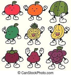 vector set of fruits