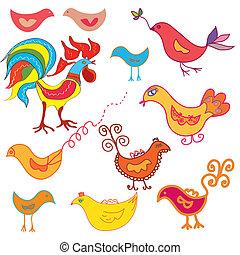Vector set of funny birds