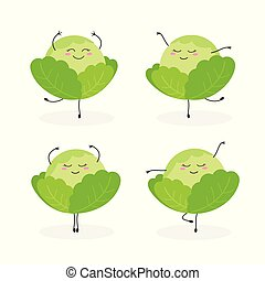 Vector set of funny cartoon cabbages ballerinas isolated on white background