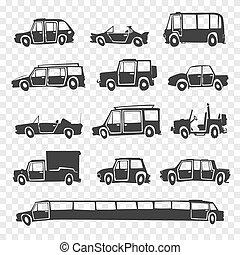 Vector set of funny cartoon car.