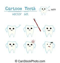 Vector set of funny cartoon teeth