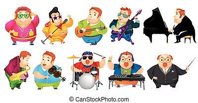 Vector set of funny fat man music illustrations.