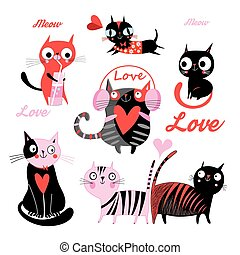 Vector set of funny loving cats