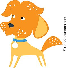 Vector cartoon cute funny brown Mongrel or Mixed breed dog in flat style