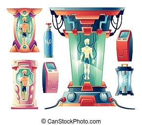 Vector set of futuristic equipment for hibernation - Vector...