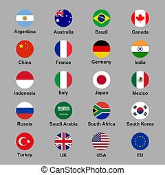 Vector set of G20 states official flags in rounded format
