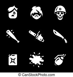 Vector Set of Game monsters Icons.
