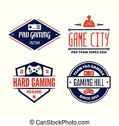 Vector set of game play joystick in vintage style. Design elements, icons, logo, emblems and badges isolated.