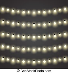 Vector set of garlands light on a black background