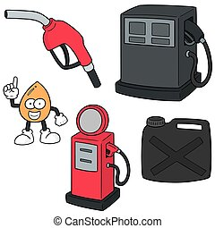 vector set of gas station