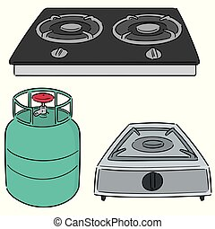 vector set of gas stove