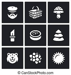 Vector Set of Gathering in the Forest Icons. - Mushroomer,...