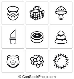 Vector Set of Gathering in the Forest Icons. Mushroomer,...