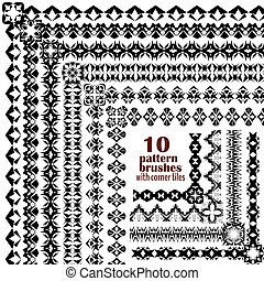 Vector set of geometric black borders in ethnic boho style. Collection of pattern brushes with corner tiles inside