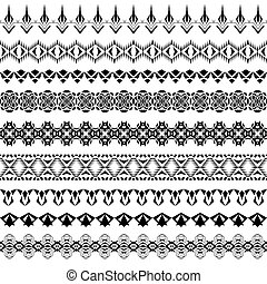 Vector set of geometric black borders in ethnic style. Collection of pattern brushes inside