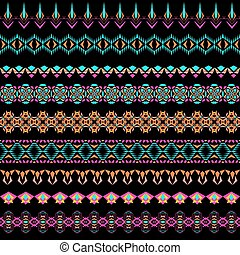 Vector set of geometric borders in ethnic boho style. Collection of pattern brushes inside