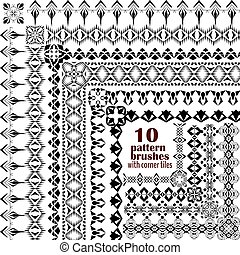 Vector set of geometric borders in ethnic style